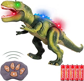 FiGoal Remote Control Dinosaur with LED Lights, Walking, and Roaring Sound, RC Tyrannosaurus T-Rex Dinosaur Toy with LED L...