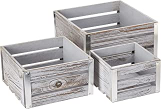Cheung's 4711-3GW Set of 3 white washed wooden square storage containers with corner galvanized accents, Gray, 3 Piece