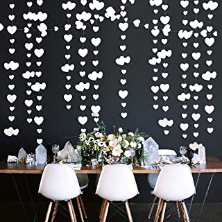 52 Ft White Heart Garland Double Sided Pearl Paper Love Heart Banner Streamer for Anniversary Mother 's Day Wedding Bridal...