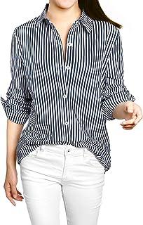 Allegra K Women's Button Down Roll-up Long Sleeves Lapel Collar Shirt