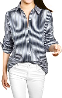 Allegra K Women's Vertical Stripes Button Down Roll-up Long Sleeves Lapel Collar Shirt