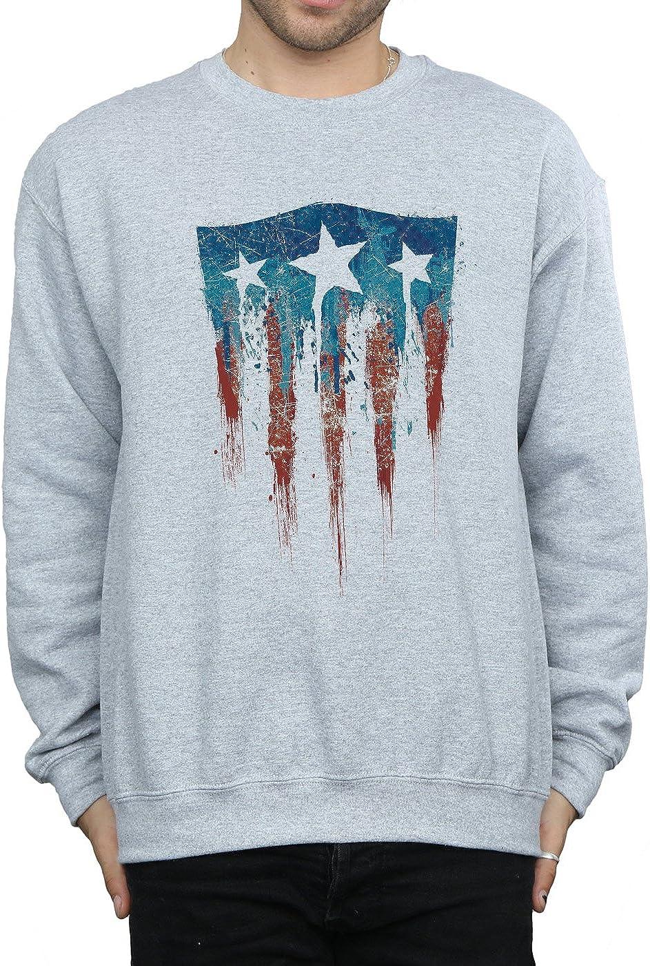 Marvel Homme Captain America Flag Shield Sweat-Shirt Sport Gris