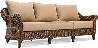 Blue Oak Outdoor Bahamas Patio Furniture Sofa with Sunbrella Canvas Heather Beige Cushions