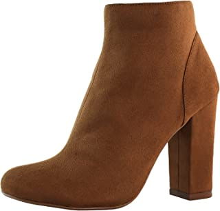 DailyShoes Women's High Heel Boots Round Toe Ankle Cowboy Bootie Perfect for Casual Day or Night Wear