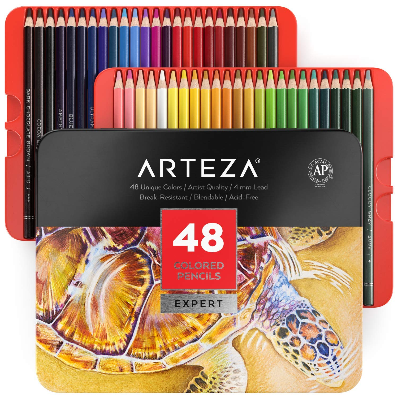 Arteza Estuche de lápices de colores para dibujo profesional | Caja de 48 unidades | Lápices de dibujo artístico | 48 colores numerados: Amazon.es: Oficina y papelería