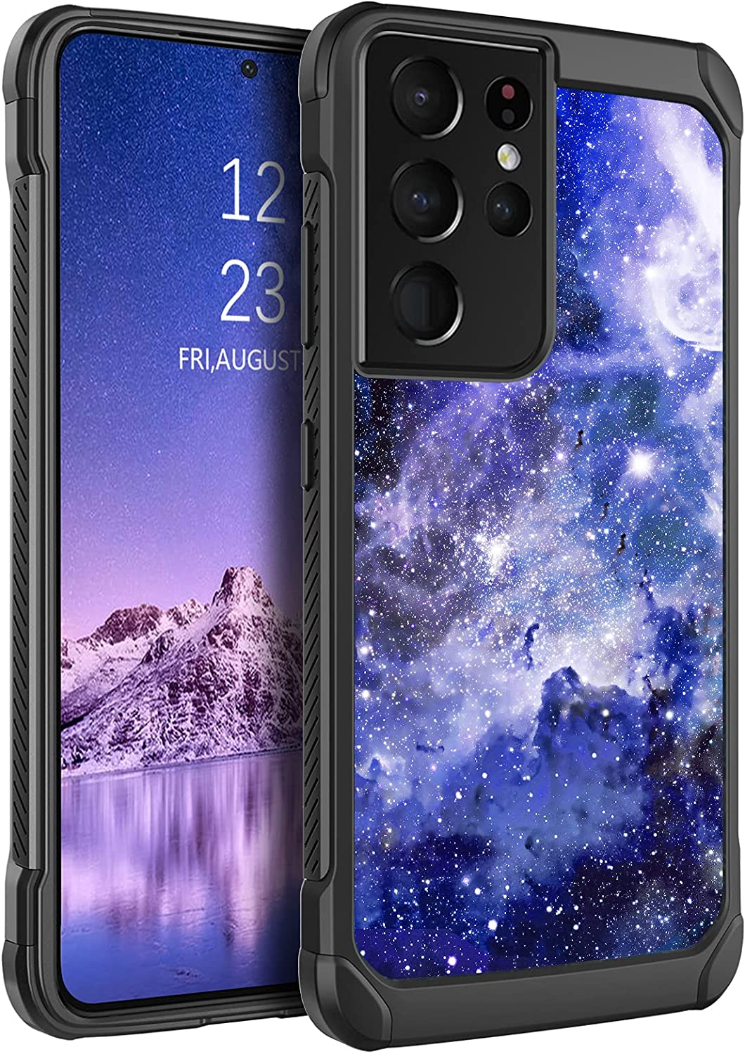 BENTOBEN Compatible with Samsung Galaxy S21 Ultra Case 6.9 Inch 2021,Slim Fit Glow in The Dark Shockproof Protective Hybrid Hard PC Soft TPU Bumper Drop Protection Girl Women Cover,Blue Nebula