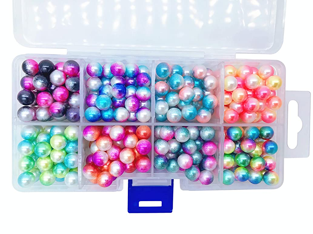 Multiple Color Bead Set, 8mm Round No Hole Pearl Beads for DIY Craft Garment Decoration Accessories