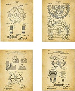 Cogs Patent Wall Art Prints - set of Four (8x10) Unframed - wall art decor for engineers
