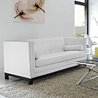 Modway Imperial Club Style Tuxedo Modern Sofa With [Bonded] Leather Upholstery And Two Bolster Pillows In White
