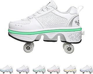 HANHJ Rullskridskor flickor, deformation fyra rullskridskor hopfällbara rullskridskor LED-skor med hjul rullskridskor uppl...