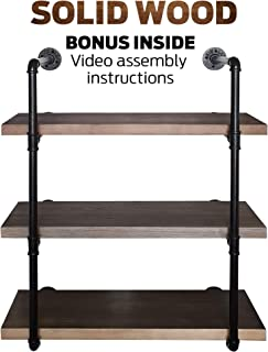 Rusver Industrial Pipe Shelving for Home Organizer Storage, 37.5 inches 3 Tier Shelf, Metal Bookcases Furniture, Real Solid Canadian Wood Retro Brown