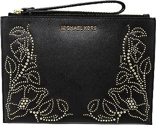 Nouveau Floral Women's Leather Large Zip Clutch Wristlet Wallet with Gold Toned Studs