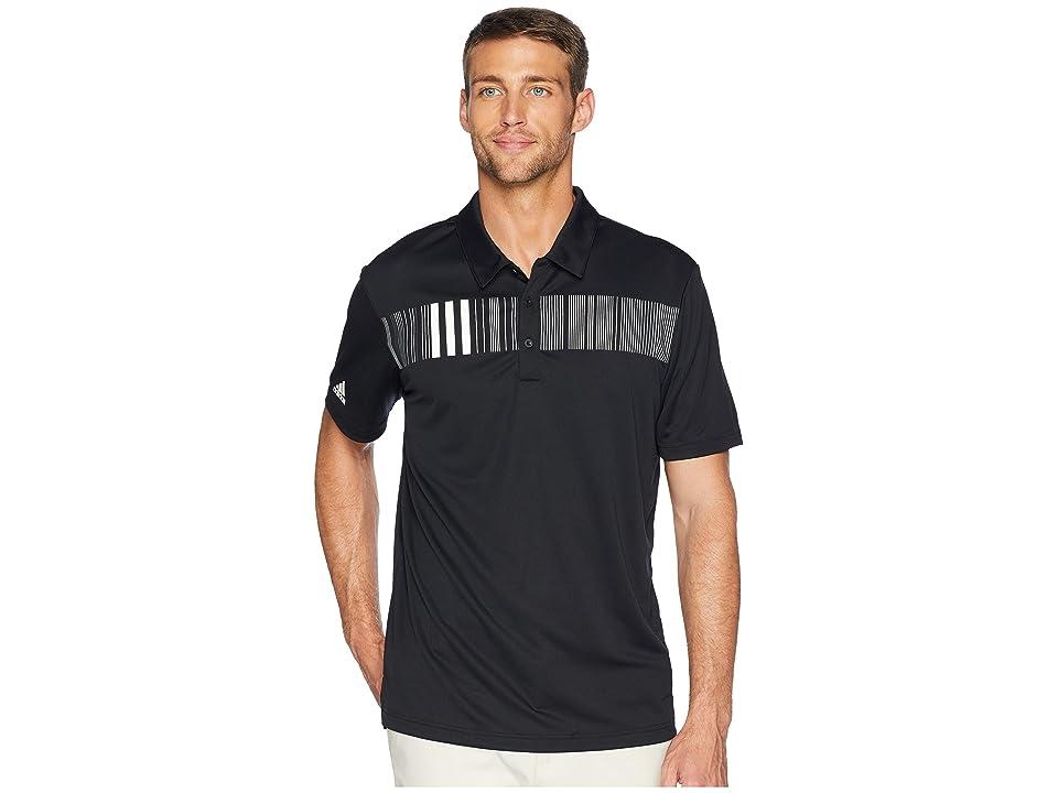 adidas Golf Chest Stripe Polo (Black) Men