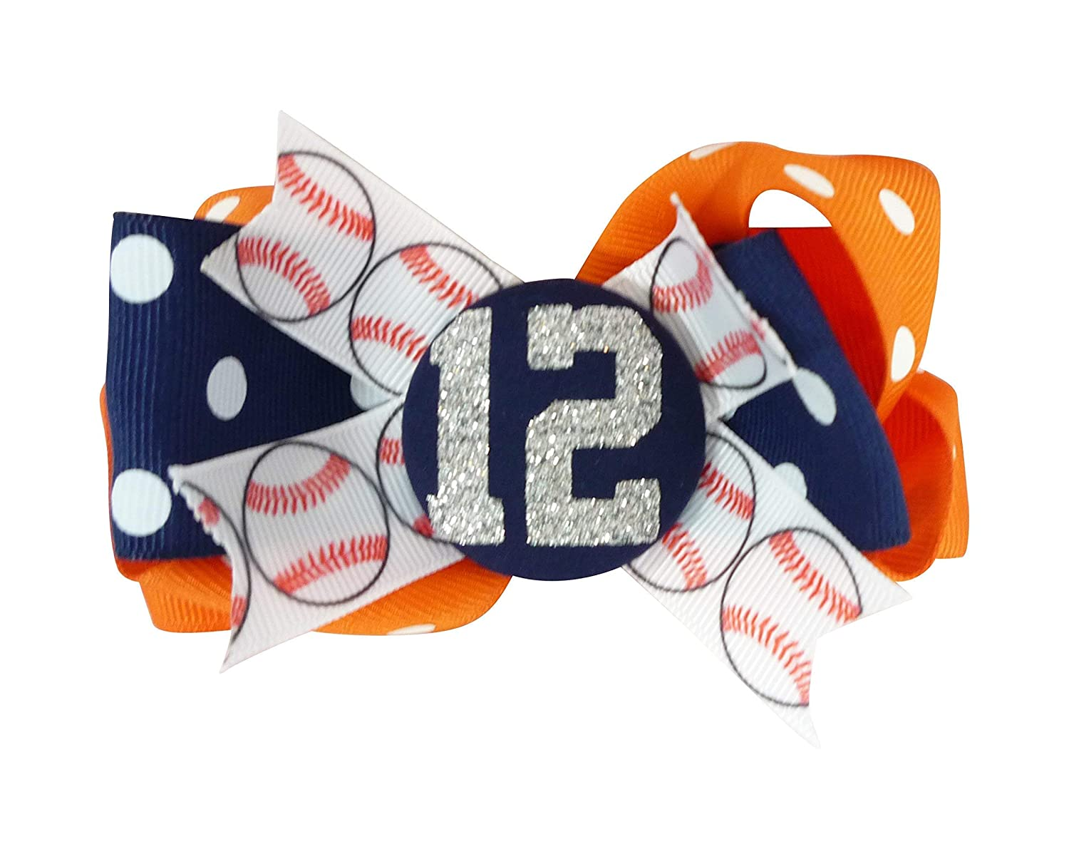 Customized Colors or Orange Navy Ranking TOP10 Save money Glitter Hair with Baseball Bow