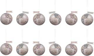 Creative Co-op 2 Colors of Peace on Earth Globes with Glitter Misc Ornaments, Brown