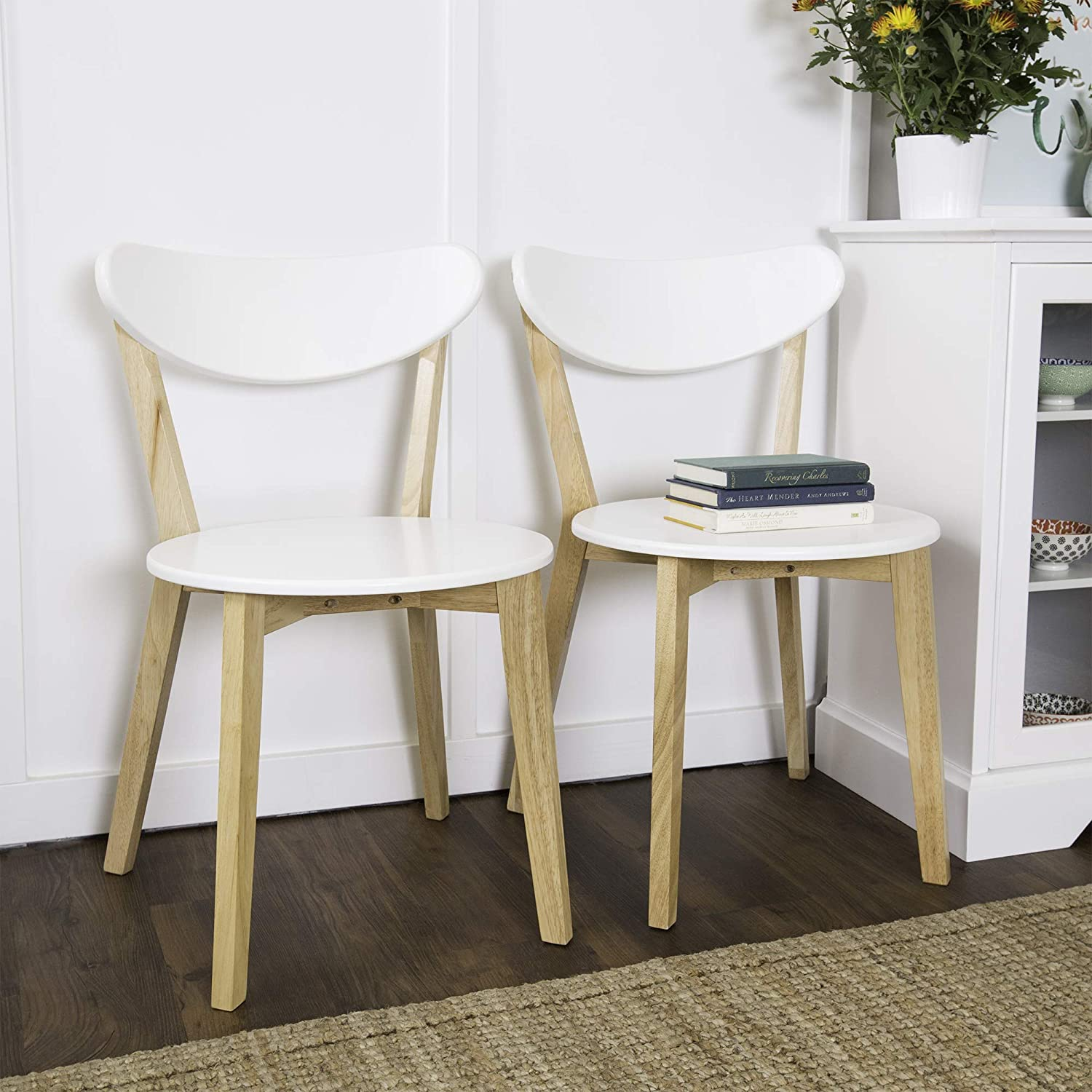 WE Furniture Retro Modern Dining Chairs - Set of 2