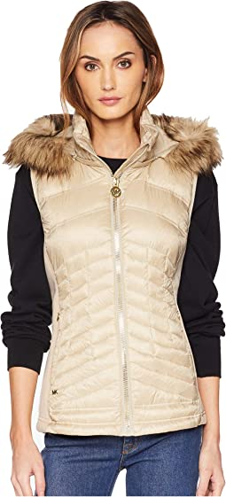 Zip Front Vest with Faux Fur Trim Hood MA820357CD