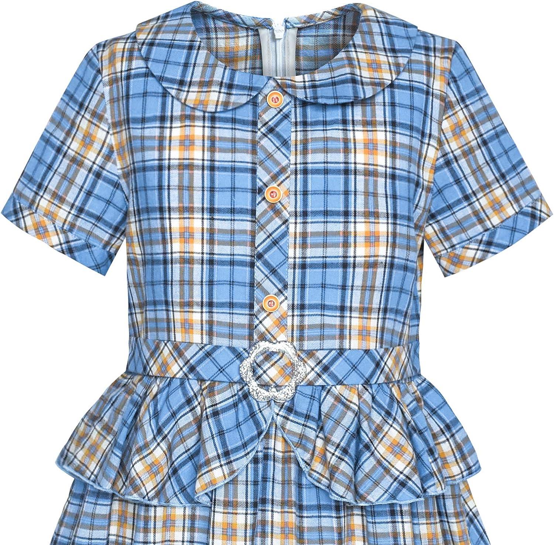 Sunny Fashion Girls Dress 2-in-1 Blue Tartan School Uniform Pleated Hem Belted