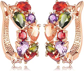 karatcart Multicolour 18K Rose Gold Plated Swiss Cubic Zirconia Earrings for Women