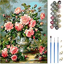 Painting by Numbers for Adults, DIY Oil Painting Pink Rose, 40*50cm Canvas (Without Frame), 3Pcs Paintbrushes and 24 Color...