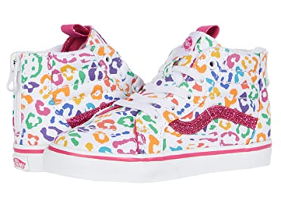 Vans Kids Sk8-Hi Zip (Infant/Toddler) ((Rainbow Leopard) Fuchsia Purple/True White) Girls Shoes