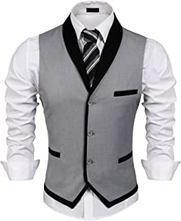 JINIDU Men's Suit Vest Slim Fit V Neck Dress Waistcoat Business Wedding Vests
