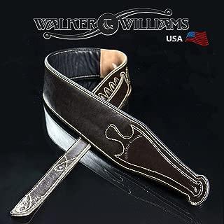 Walker & Williams C20 Celtic Design Dark Brown Padded Leather Guitar Strap 3