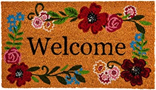 Evergreen Flag Floral Framed Welcome Coir Mat - 28 x 1 x 16 Inches