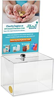 MCB - Medium Acrylic Donation Box - Ballot Box - Ticket Box - Vote Box - Suggestion Box - Comments Box - Locking with 2 Ke...