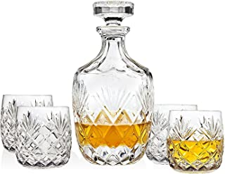 Godinger Whiskey Decanter and Glasses Set for Liquor Bourbon Scotch Vodka or Wine - Includes 4 Whisky Glasses - Berkshire Collection