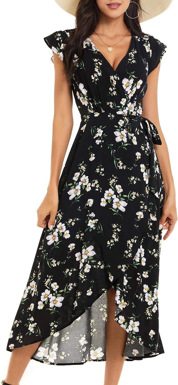 ZABERRY Womens Cap Sleeve Wrap V Neck Summer Floral Split Maxi Dress with Belt