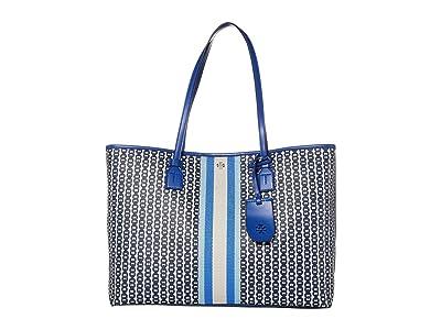 Tory Burch Gemini Link Canvas Tote (Bondi Blue Gemini Link) Handbags