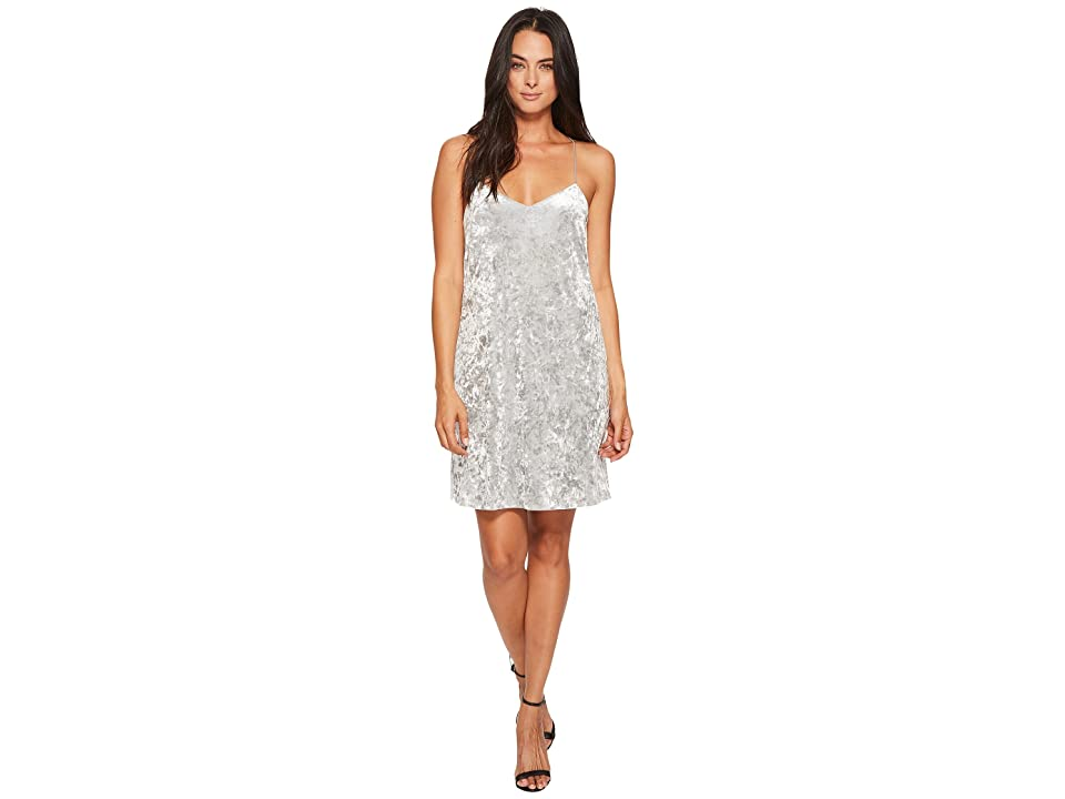 CeCe Mia Sleeveless Crushed Velvet Slip Dress (Silver Shine) Women