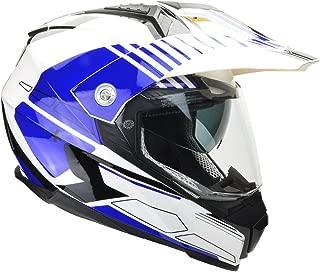 Vega Helmets Cross Tour 2 Dual Sport Helmet with Internal Sun Visor – Full Face Motorcycle Helmet for ATV MX Enduro Quad Off Road, 5 Year Warranty (Blue Adventure Graphic, Small)