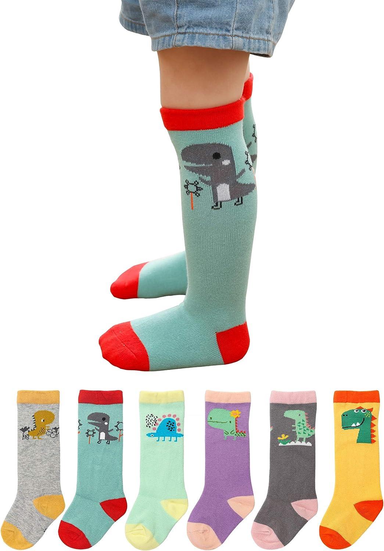 Dicry Unisex Baby Knee High Socks Toddler Boys Girls Dinosaur Long Socks Animal Stockings 6 Pairs