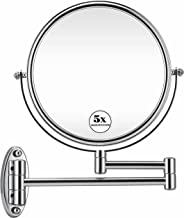 GloRiastar 5X Wall Mounted Makeup Mirror - Double Sided Magnifying Makeup Mirror for Bathroom, 8 inch Extension Polished Chrome Finished Mirror