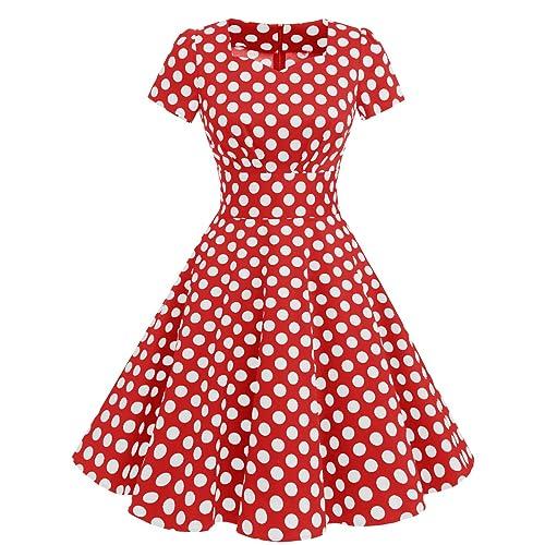 a4304ec9ddf Dresstells reg  Vintage 1950s Solid Color Prom Dresses Short Sleeve Retro  Swing Dress