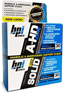 BPI Sports A-HD Elite/Solid Combo 500/550mg Testosterone Booster Capsules, 30 Count by BPI Sports