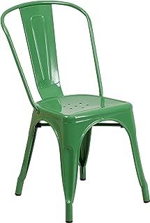 Flash Furniture Green Metal Indoor-Outdoor Stackable Chair