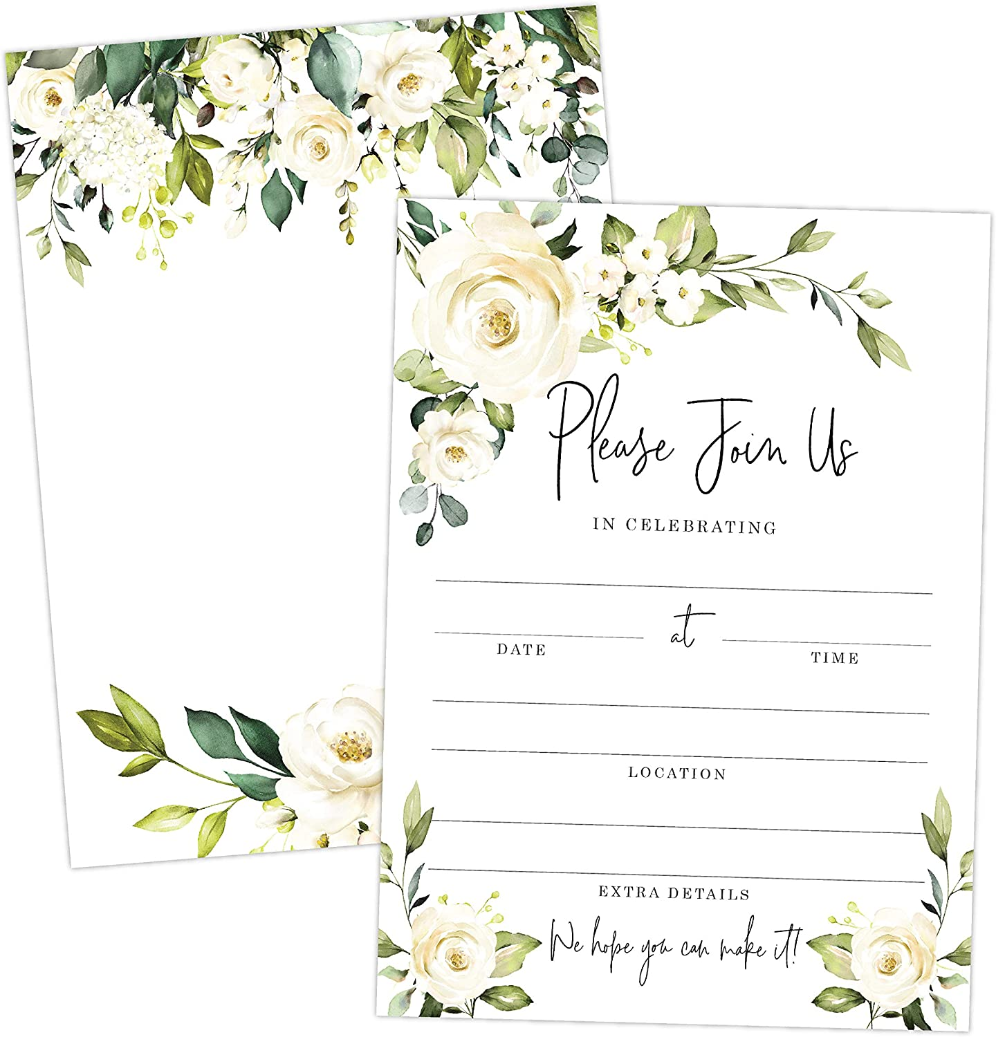 White Rose Invitations for All Occasions, Elegant Invites Perfect for Weddings, Bridal Showers, Birthday, Engagement, Bachelorette Party, Reception, Anniversaries