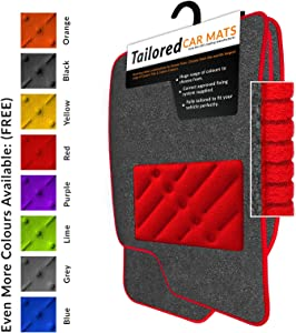 Car Mats Fit Rio 2nd Gen  2005-2011  Grey Tailored Car Mats  amp  Red Trim  amp  Red Double Ultra Thick Rectangle Heel Pad