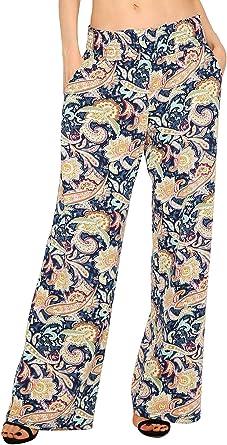 urban GoCo Mujer Pantalón Palazzo de Pierna Ancha Casual Estampado Floral Baggy Pantalones