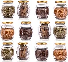 Star Work 400ml Kitchen Honey Pot Shape Glass jar for Using Masla Storage DIY Craft Storage,Pantry Storage Container Pack of (6)