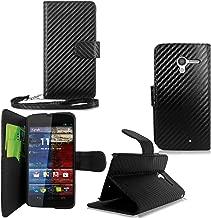 Motorola Moto X - Cellularvilla Pu Leather Wallet Id Card Slot Holder Flip Open Pocket Case Cover Pouch For Motorola Moto X XT1058 XT1060 XT1055 XT1056 XT1053 (Verizon) (Carbon Fiber Black)