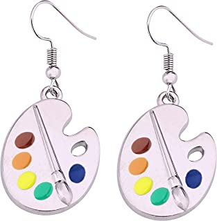 FUSTMW Artist Paint Brush Earrings Paint Palette Charm Earrings Colorful Painter Jewelry Artist Gift Art Teacher Gifts