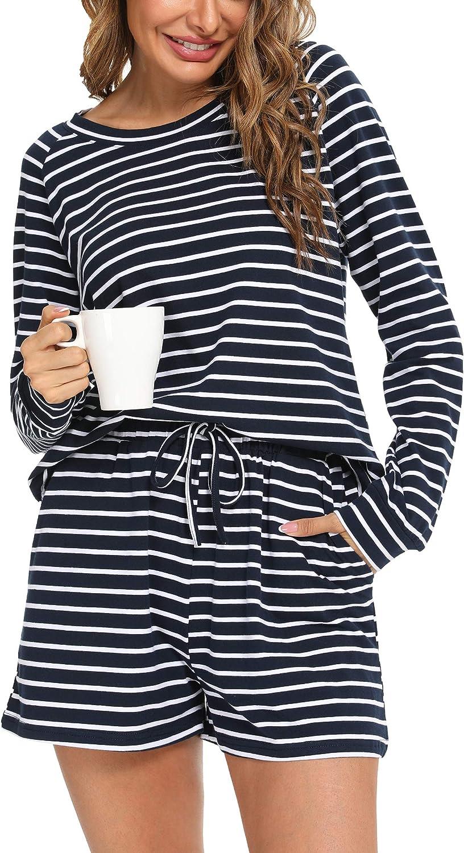 YOZLY Womens Pajama Set Cotton Lounge Sets 2 Piece Sleepwear Long Sleeve Pj Tops with Shorts S-XXL