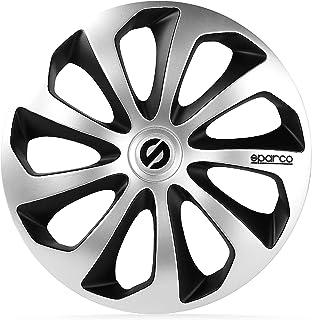 comprar comparacion SPARCO SPC1573SVBK Tapacubos Sicilia, Plata/Negro, Set de 4, 15