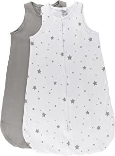 Ely's & Co 100% Cotton Wearable Blanket Baby Sleep Bag Grey 2 Pack (Grey Stars, 6-12 Months)
