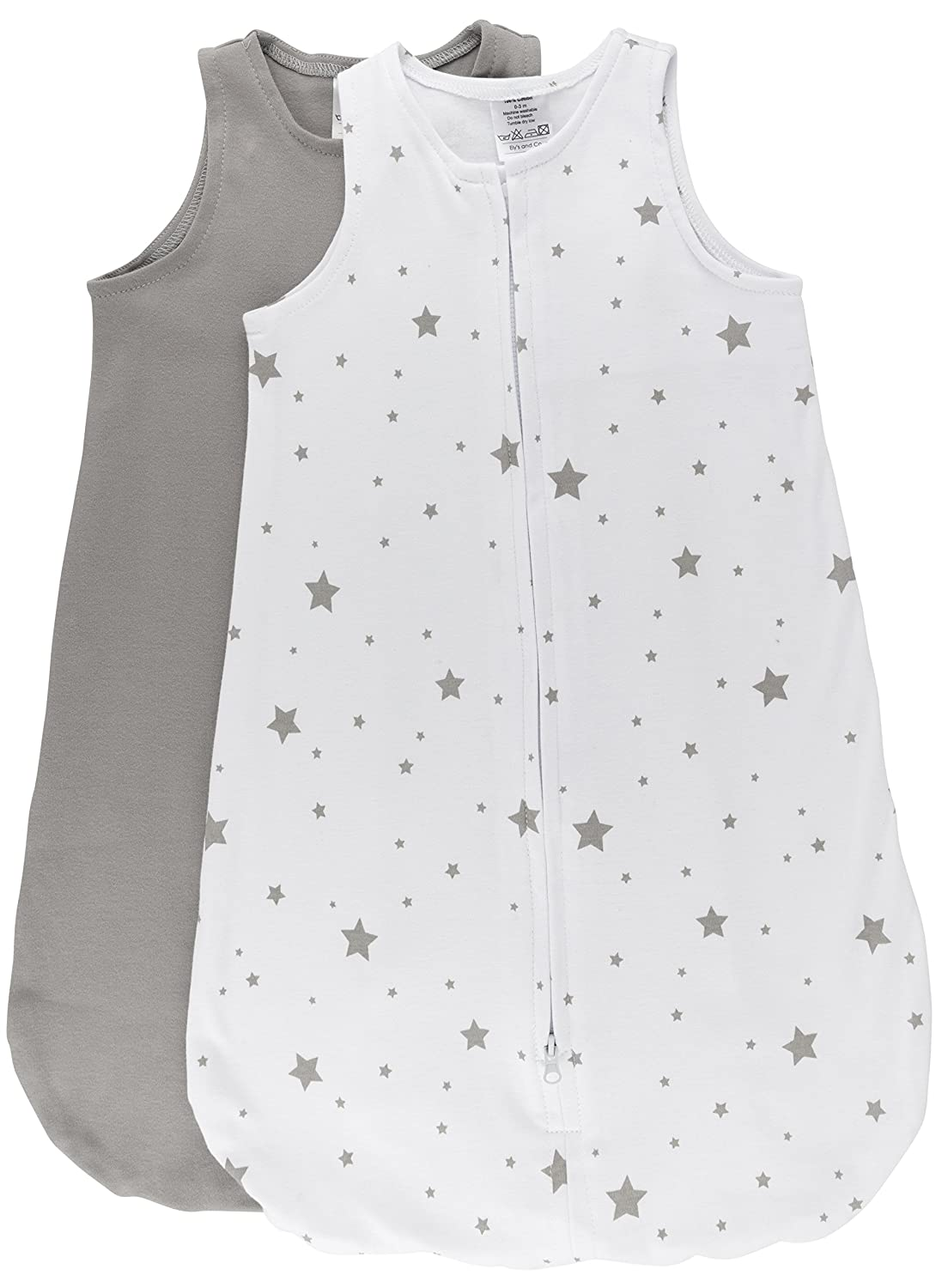 Ely's & Co.100% Cotton Wearable Blanket Baby Sleep Bag 2 Pack Grey Stars 6-12 Months: Home & Kitchen