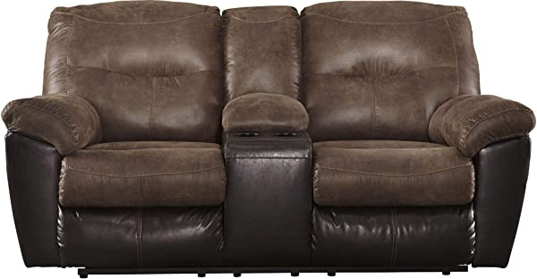 Ashley Furniture Signature Design Follett Overstuffed Upholstered Double Reclining Loveseat W Console Contemporary Coffee